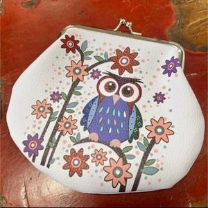 Owl flower clasp faux leather coin purse